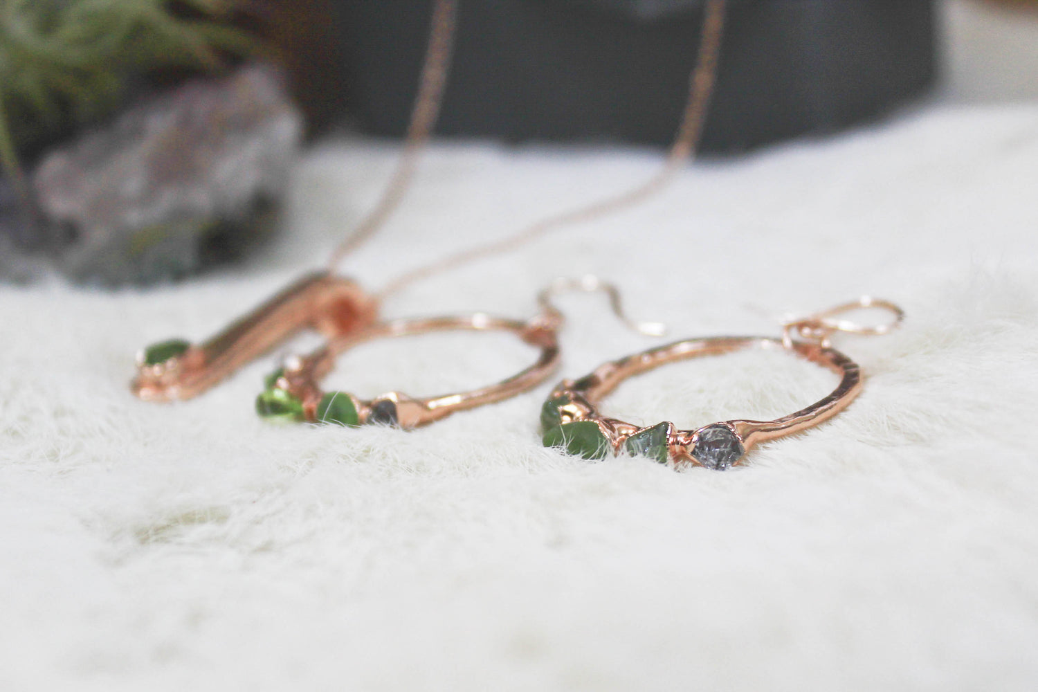 Raw Peridot Crystal Jewelry by Fox and Stone