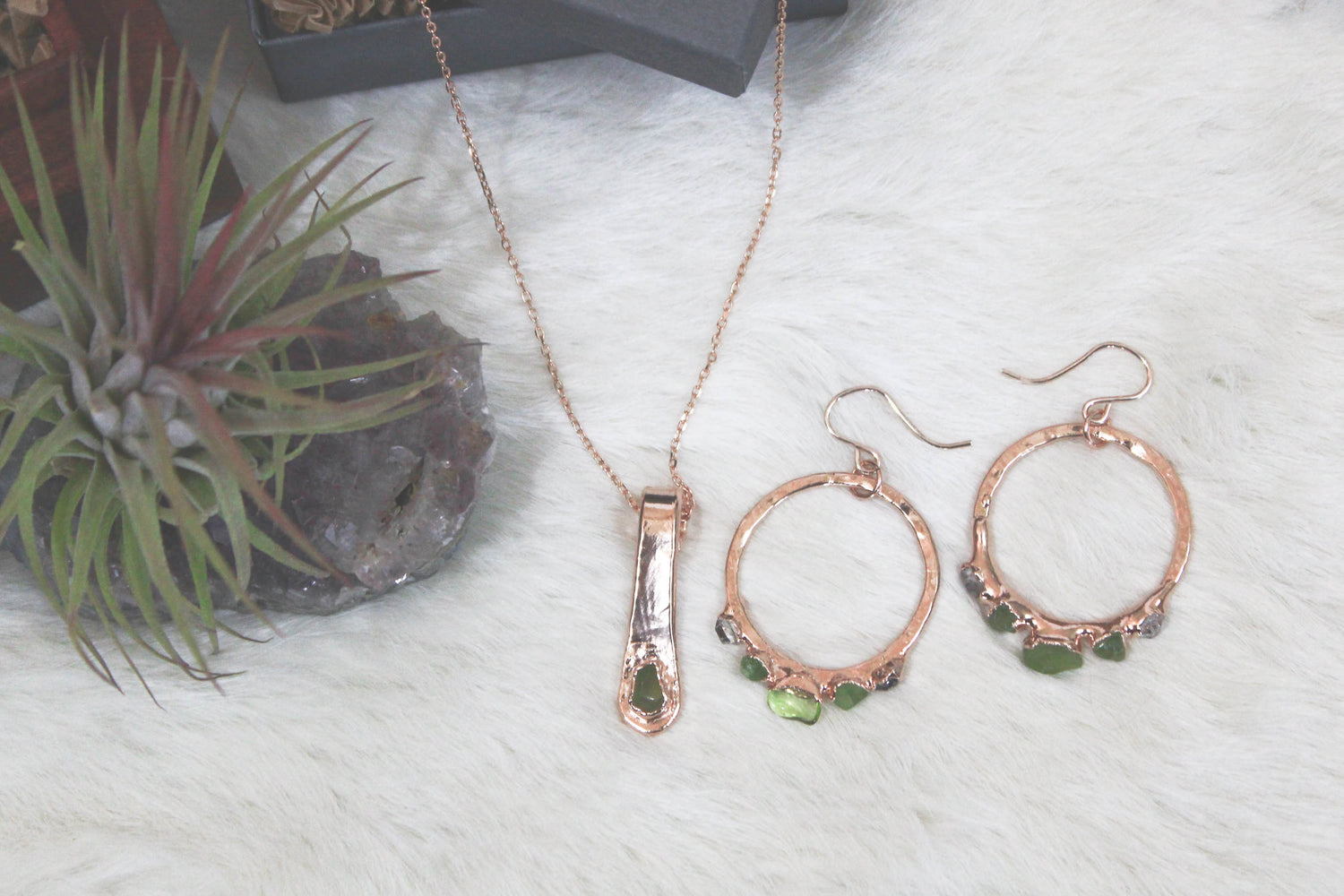 Hand-Forged Peridot Rose Gold Necklace