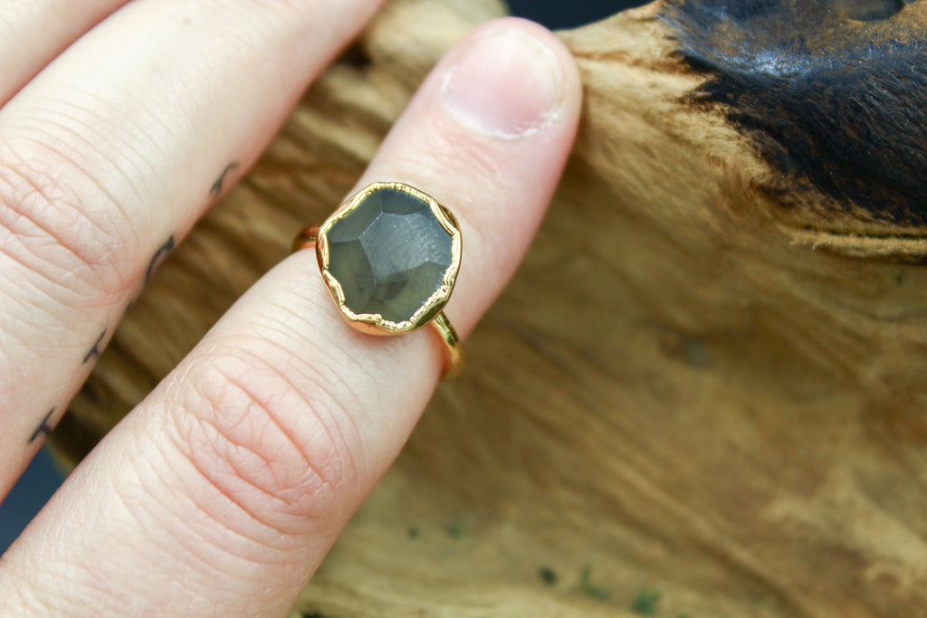 Faceted Obsidian Ring in Yellow Gold