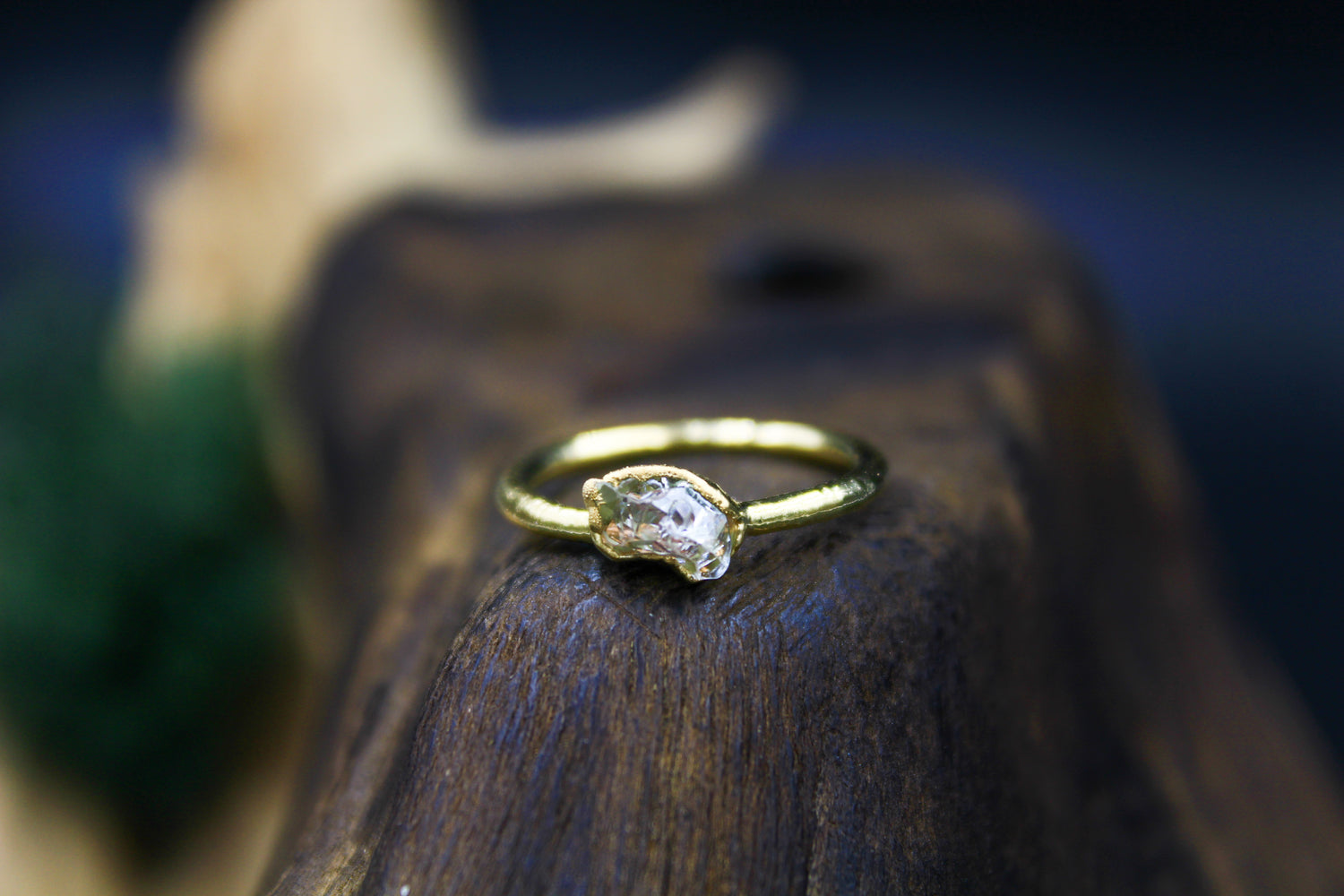 Herkimer Diamond Stacking Ring in Yellow Gold