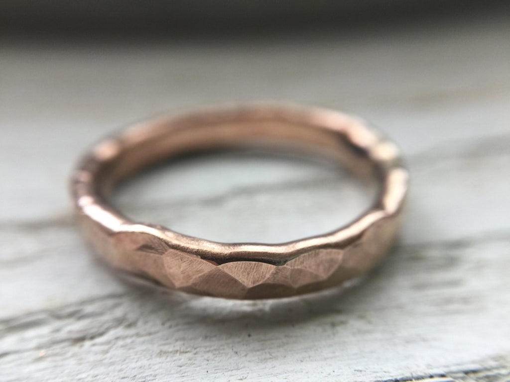14k rose gold rustic wedding band - hammered ring by the fox and stone