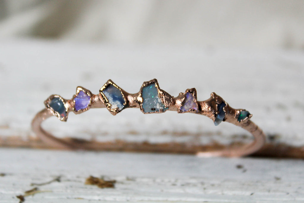 raw black australian opal rose gold bangle bracelet by Fox & Stone Bohemian Crystals