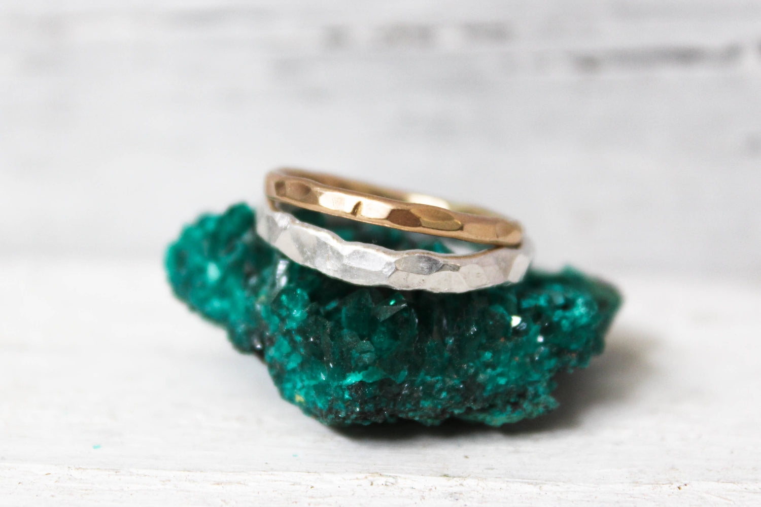 silver rustic wedding band - hammered ring by the fox and stone