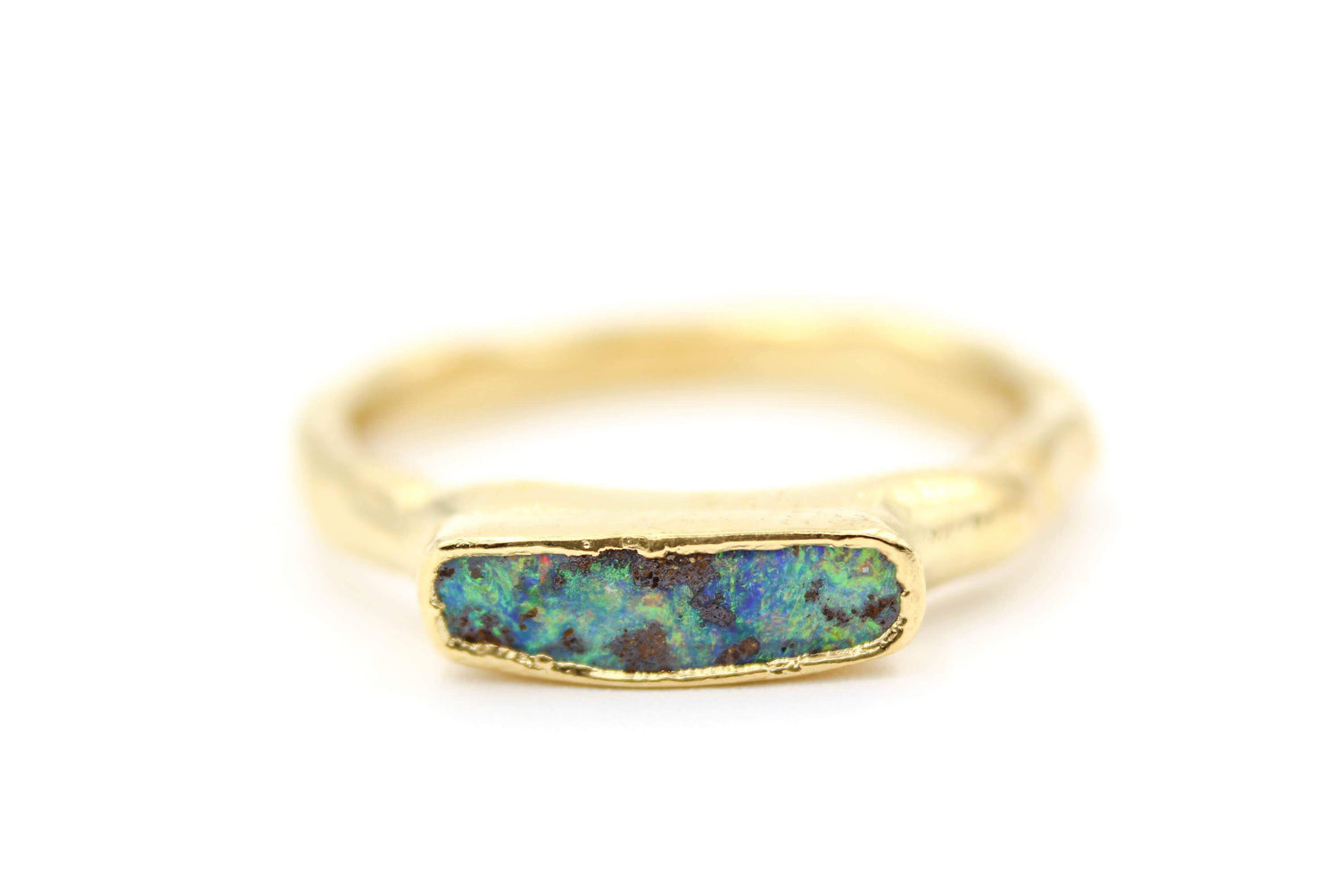 Australian Boulder Opal Wedding Band Unisex Custom Bridal Jewelry by Fox&Stone
