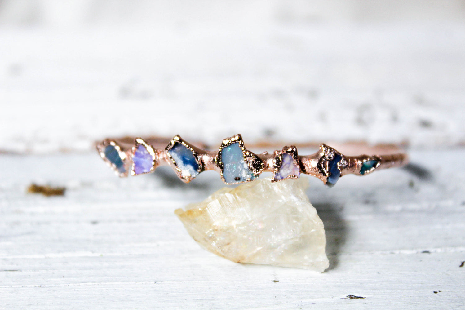 raw australian opal bangle bracelet by fox and stone bohemian crystals
