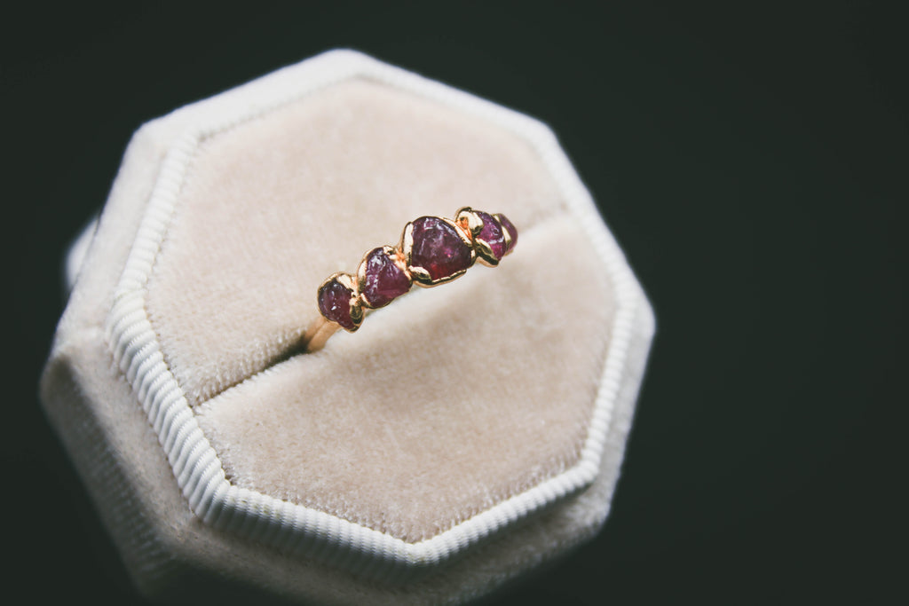 Raspberry Garnet Gemstone Ring