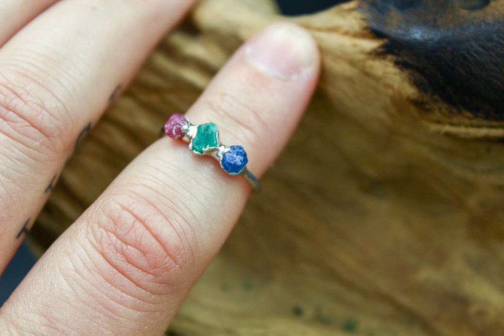 Multistone Emerald, Sapphire and Ruby Ring in Rhodium