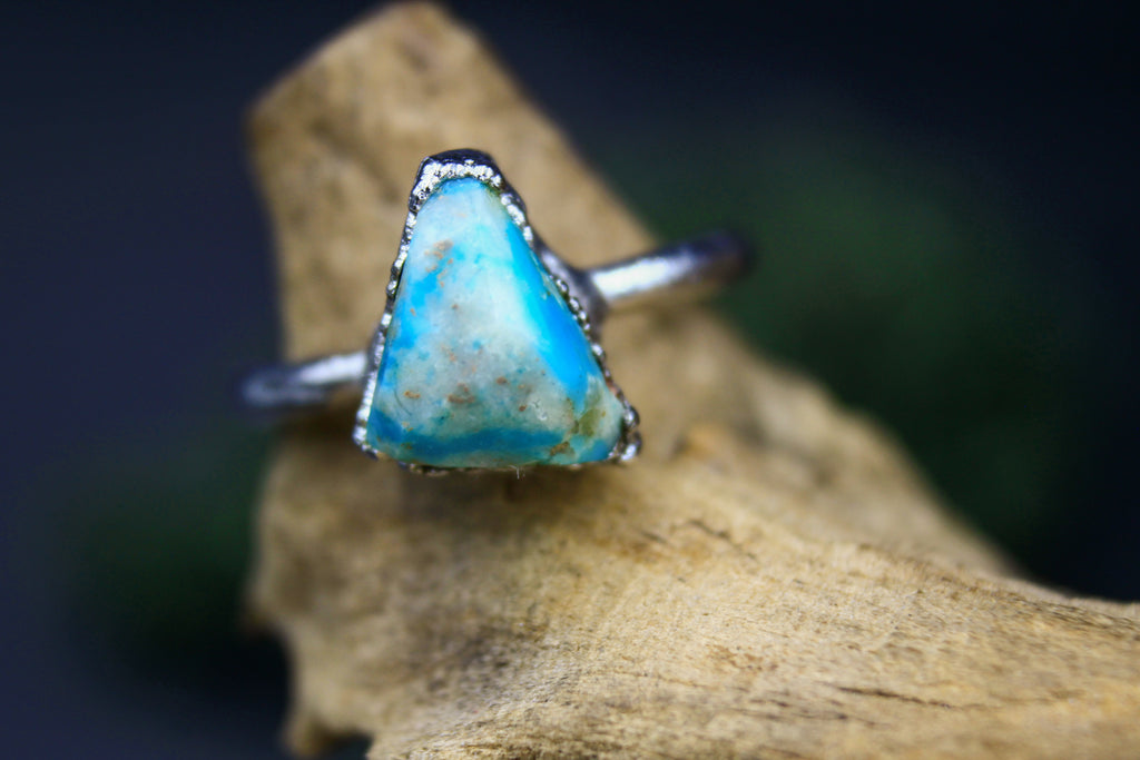 Turquoise Triangle Ring in Rhodium