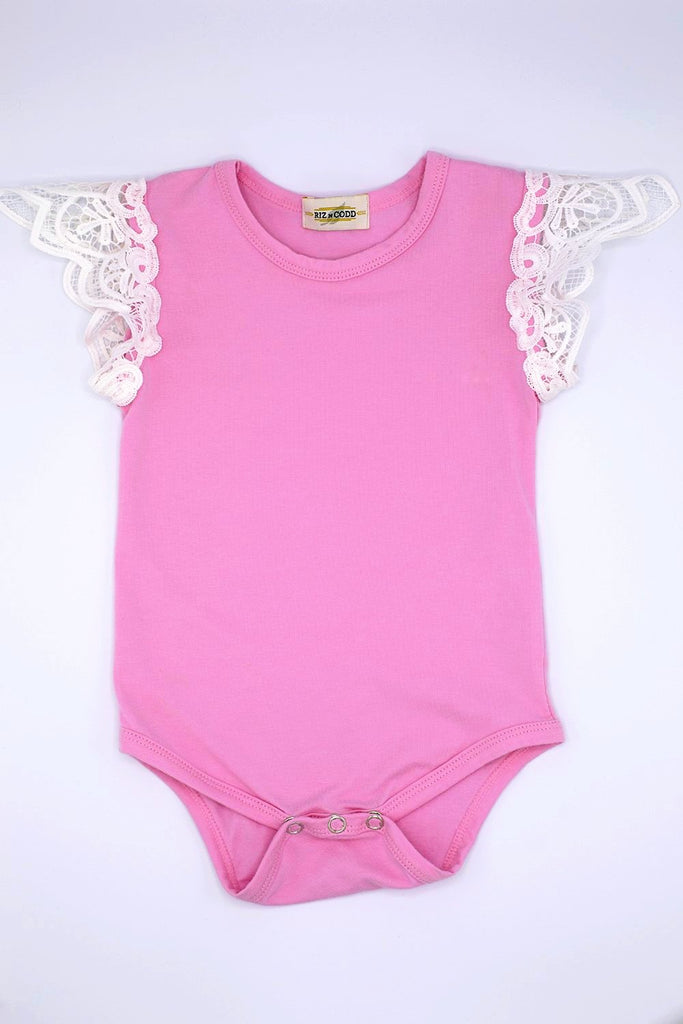 3f70bd97781 Light pink sleeveless lace wing toddler romper