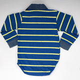 Blue striped long sleeve polo romper