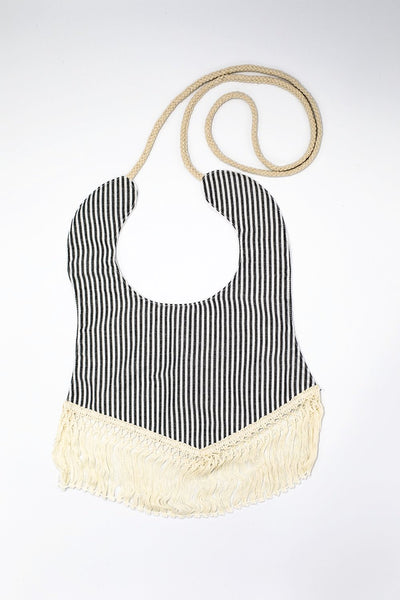 Vintage grey striped tassel bib