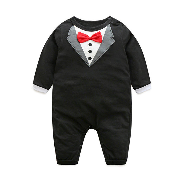 Novelty onesie for your handsome baby boy. Stylish black long sleeve tuxedo romper.