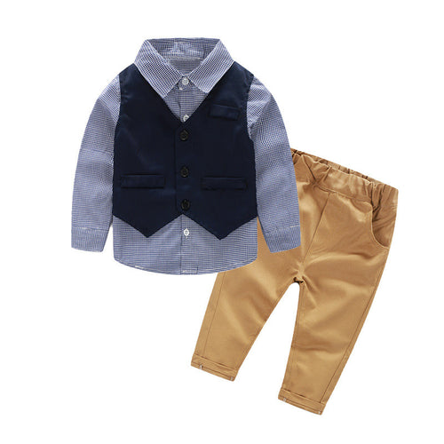 Blue infant stripe check shirt with blue vest and chino pants.