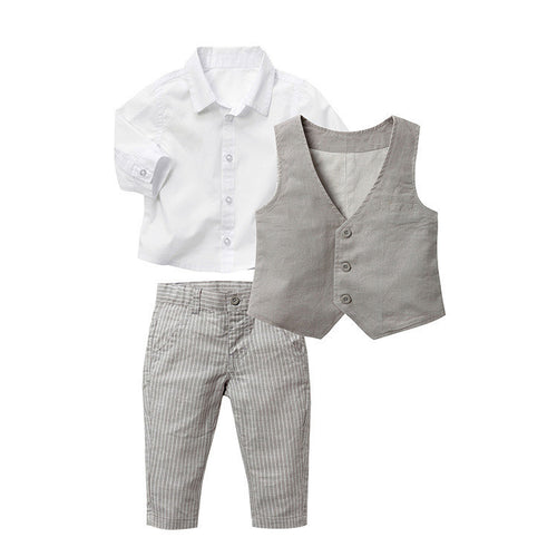 3 piece grey and white Clothing Set. White shirt and grey Striped Pants with grey vest.