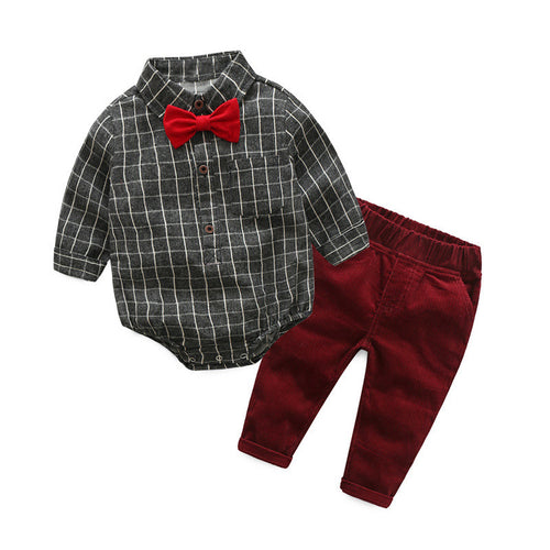 Grey infant plaid shirt romper with bow tie & maroon pants.