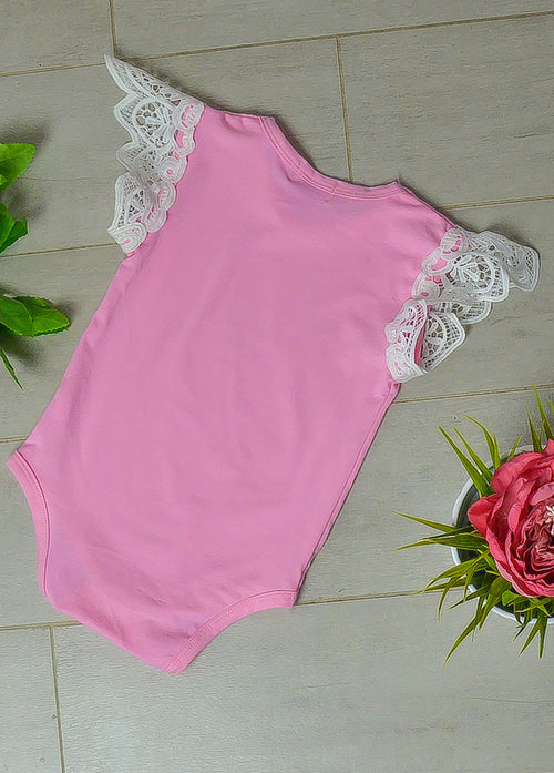 Light pink sleeveless lace wing romper