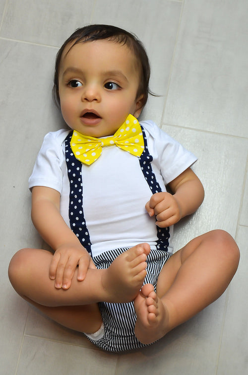 2 piece cotton romper set. White romper with bow tie, and separate bloomers.
