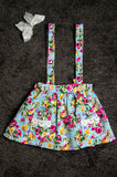 Floral blue suspender skirt