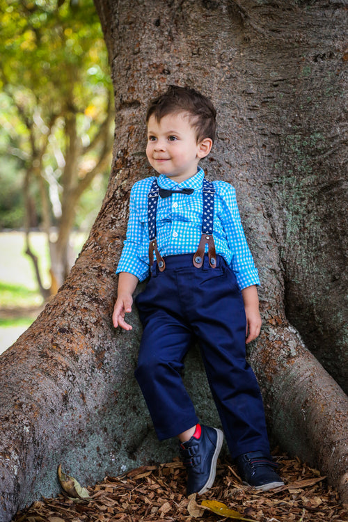 2 piece blue shirt and suspender set