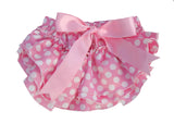 Pink and white polka dot satin baby bloomers