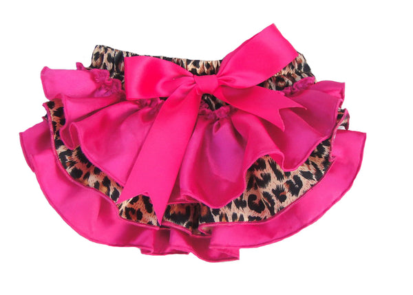 Bright pink and leopard print satin baby bloomers