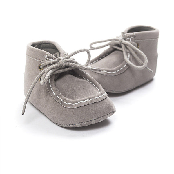 Grey lace up moccasins. Soft sole baby shoes.