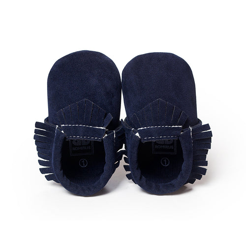 Navy soft sole moccasin baby shoes.
