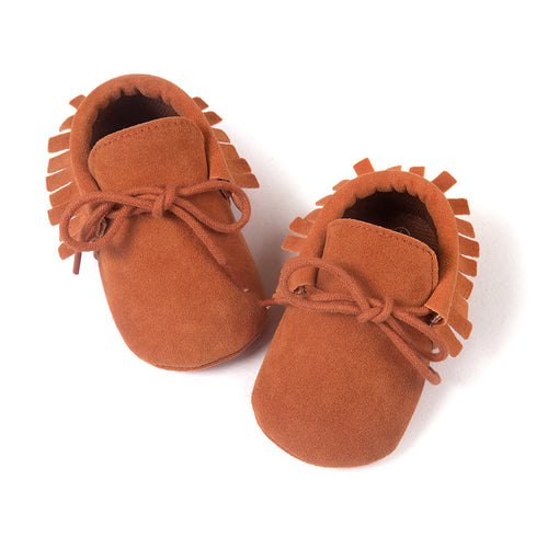Brown tassel lace up moccasins.Soft sole baby shoes.