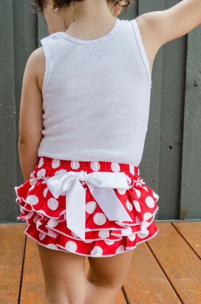 Red and white polka dot satin baby bloomers