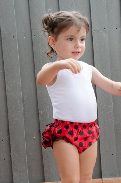 Red and black polka dot satin baby bloomers