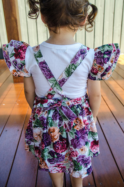 Floral purple suspender skirt