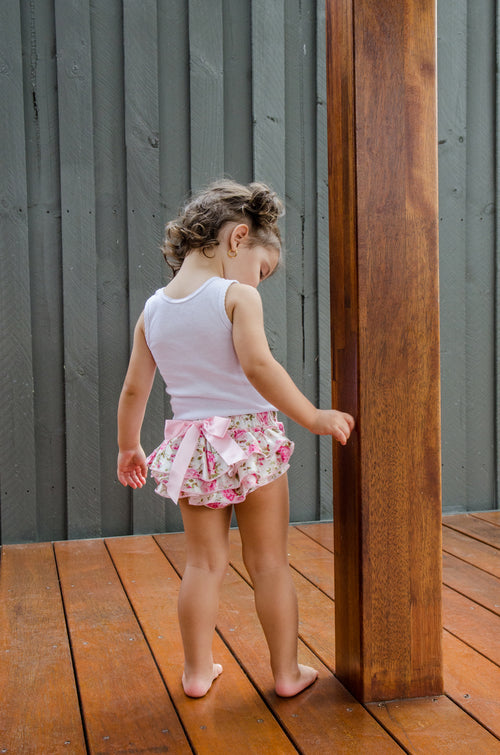 Floral satin baby bloomers