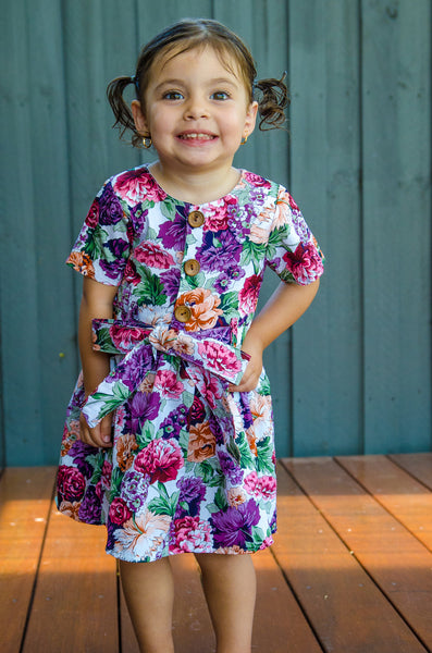 Purple floral pleated dress