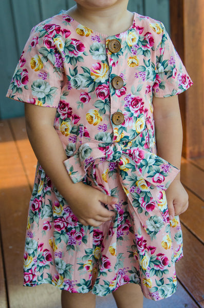 Pink floral pleated dress
