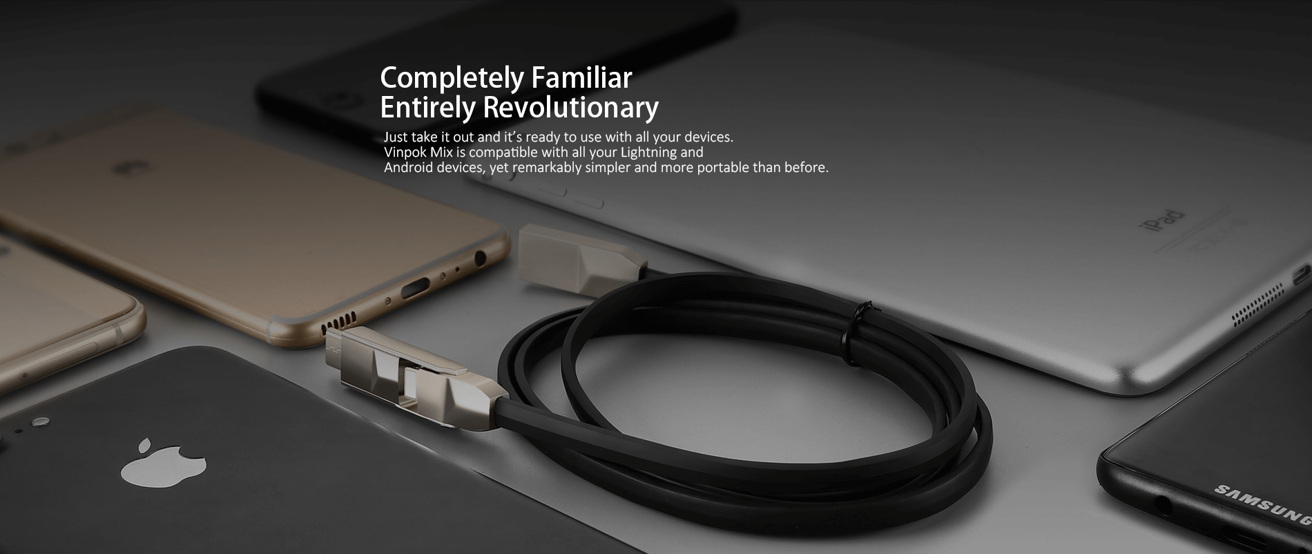 Vinpok Mix is a 3-in-1 cable that's compatible with all your iPhone and Android devices.