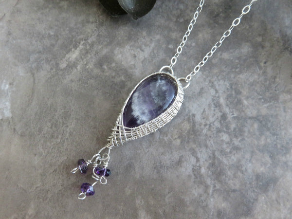 Amethyst Necklace Silver Wire Wrap Necklace with Sterling Silver Chain - Desert Shine Designs