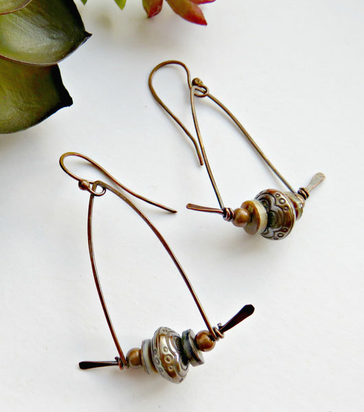 Copper Dangle Earrings - Medium Drop Earrings