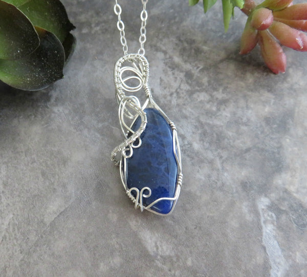 Lapis Lazuli Necklace Wire Wrapped with Sterling Silver wire