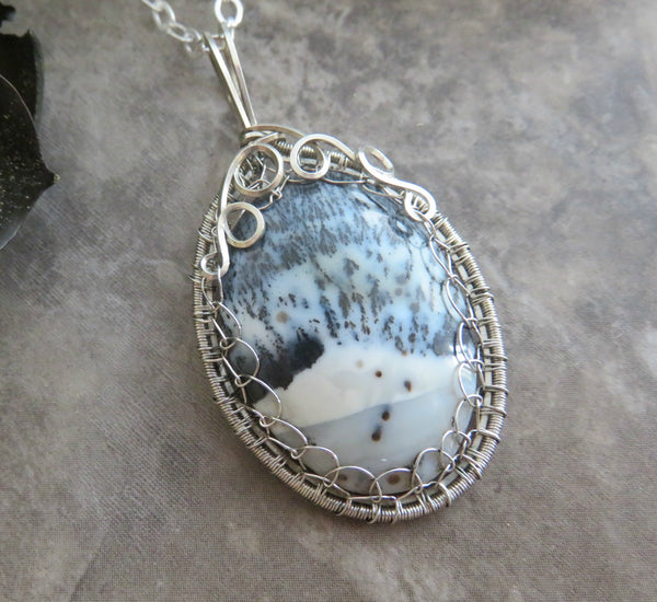 Dendritic Opal Necklace in Silver
