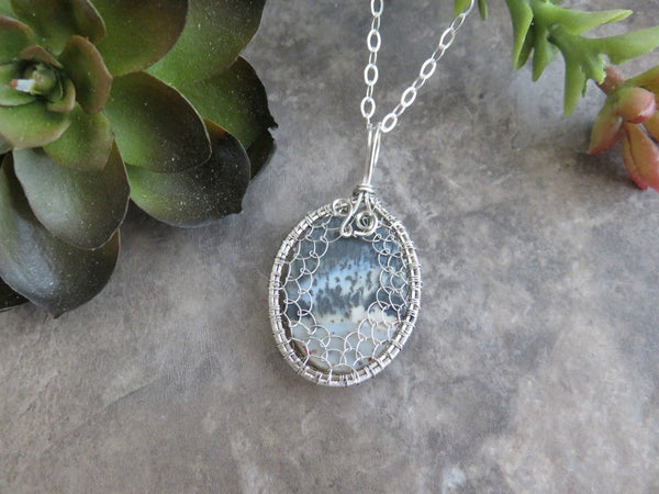 Dendritic Opal Necklace in Silver - Desert Shine Designs
