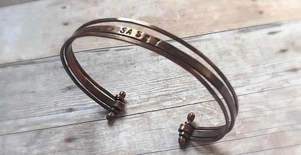 Stacking Bracelets - Personalized Wire Copper Cuff Bracelets - Desert Shine Designs