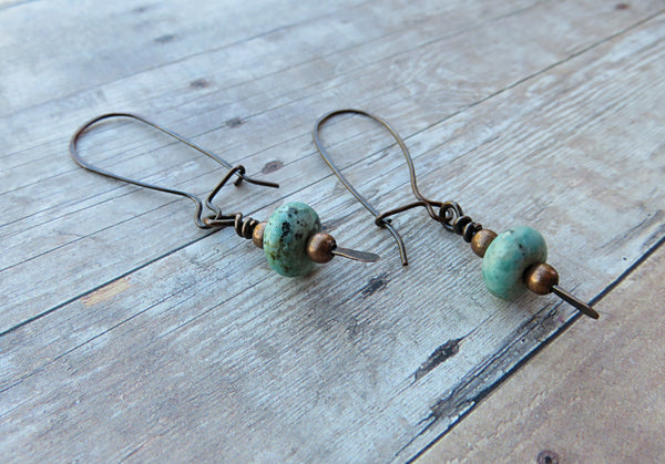 Dangling Earrings - Long Turquoise Earrings - Long Dangle Earrings - Desert Shine Designs