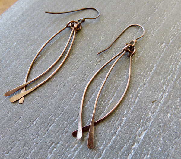 Long Dangle Earrings, Dangling Earrings in Copper - Desert Shine Designs