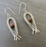 Wire Wrapped Earrings - Sterling Silver Dangle Earrings - Long Silver Earrings - Bridesmaid gift - Desert Shine Designs