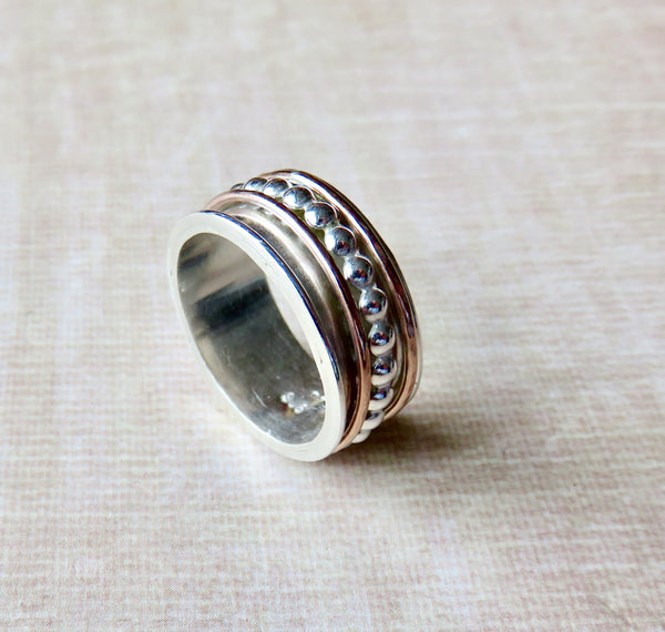 Spinner Rings for Women, Silver Spinner Ring, Gold and Silver Ring - Desert Shine Designs