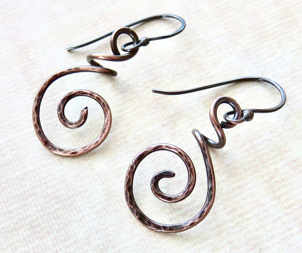 Handmade Copper Earrings - Hammered Copper Coiled Earrings - Desert Shine Designs