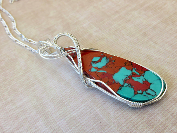 Turquoise Coral Pendant - Silver Turquoise Necklace - Desert Shine Designs