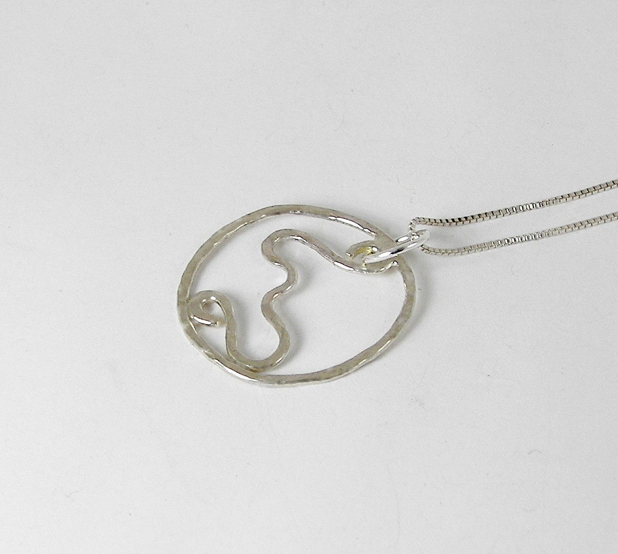 Circle Pendant Necklace, Squiggles Sterling Necklace, Circle Jewelry - Desert Shine Designs