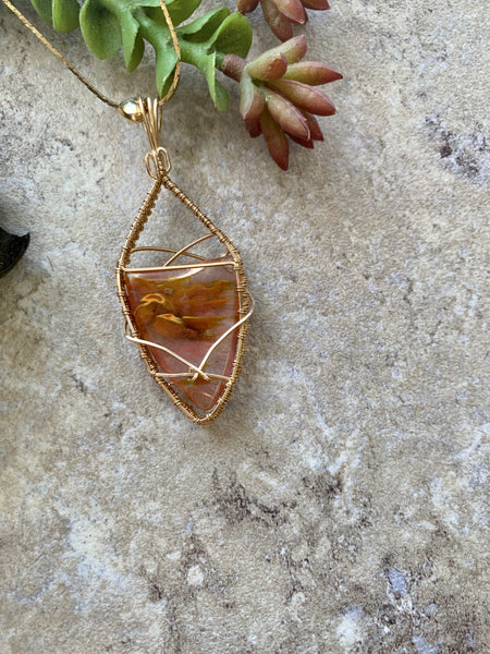 Blown Glass Pendant Wire Wrapped 14k Gold Wire