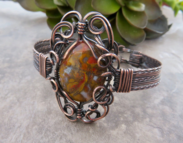 Kentucky Agate Wire Wrap Bracelet in Copper